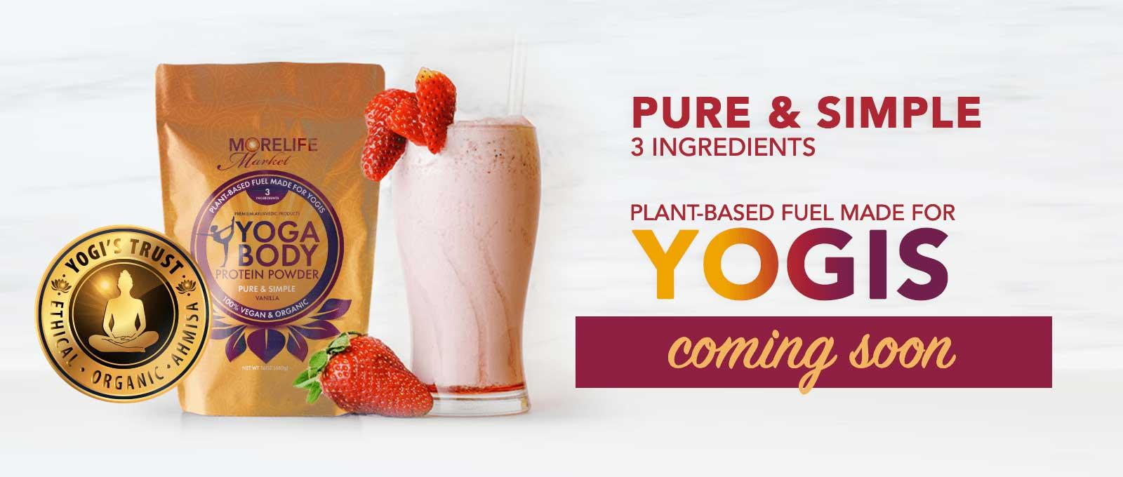 MoreLife Market Yoga Body Protein Powder, Strawberry Smoothie & Strawberries